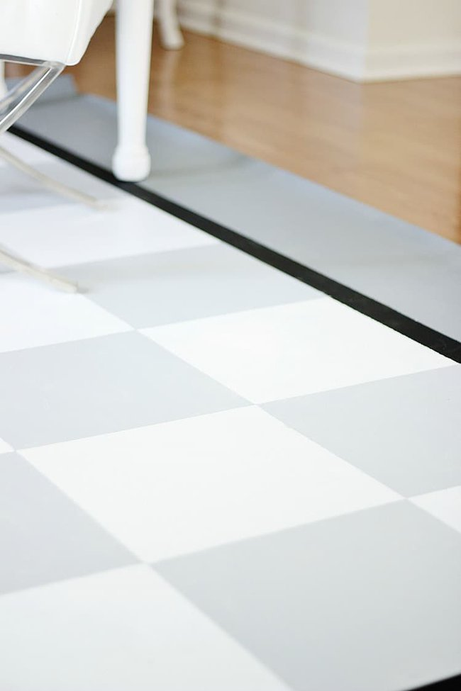 How to paint a floor cloth on a budget