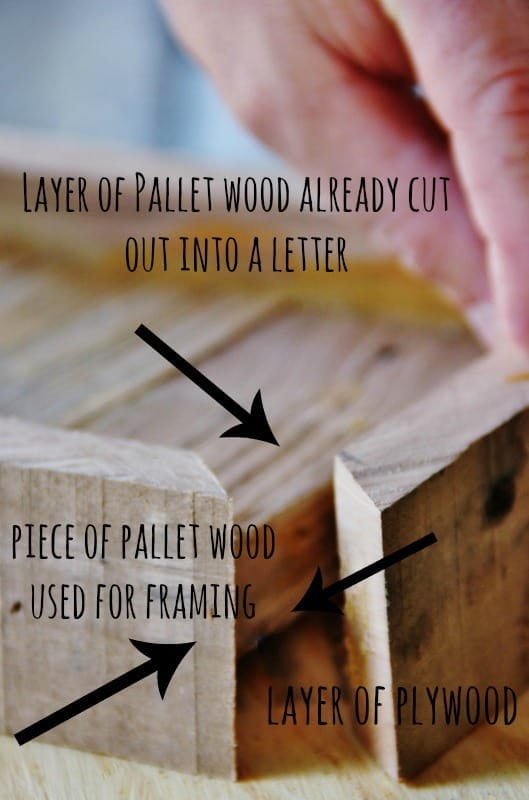 Frame the cut-out of your wooden letter using plywood.
