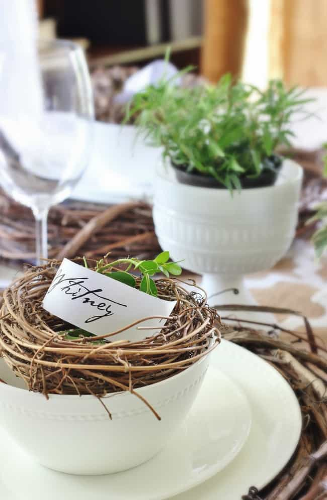 boxwood wreath place setting