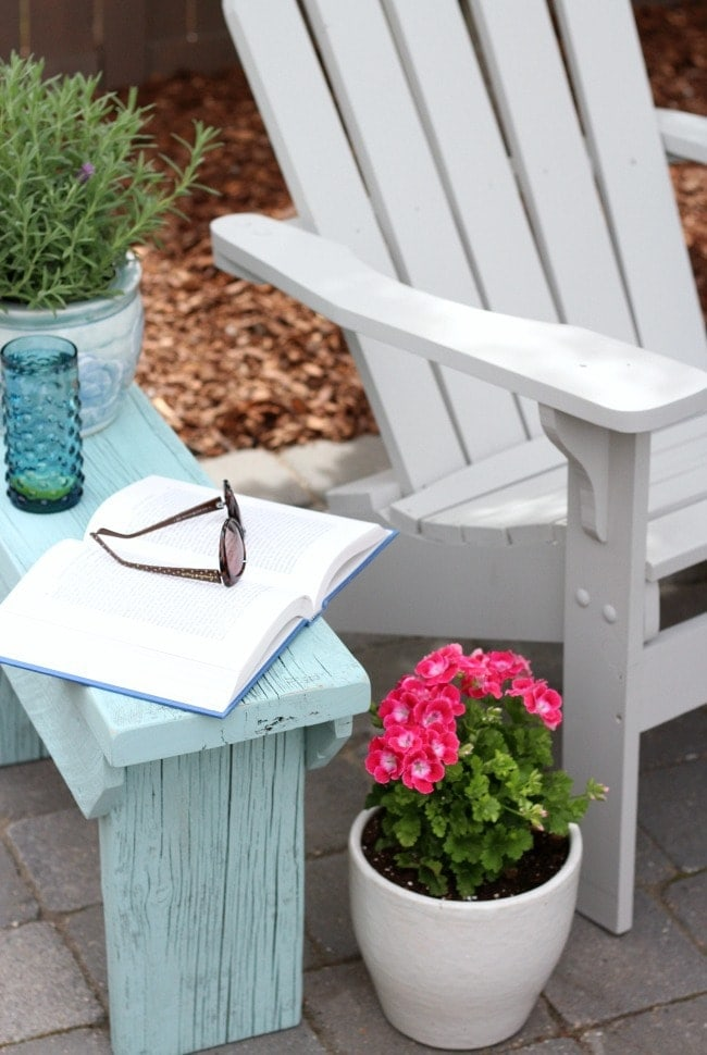 Distressed Wood Outdoor Side Table