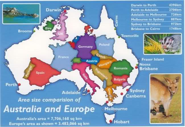 How big is Australia compared to Europe?