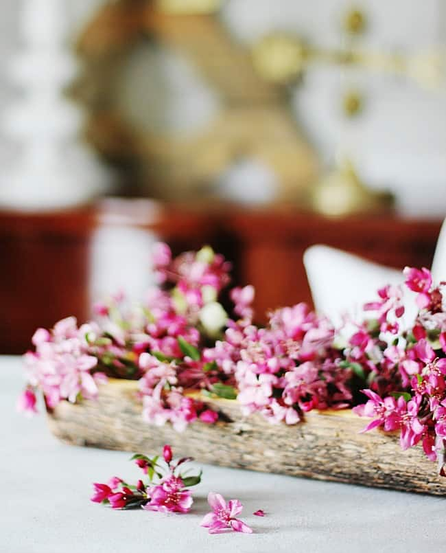 wooden bowl with flowers