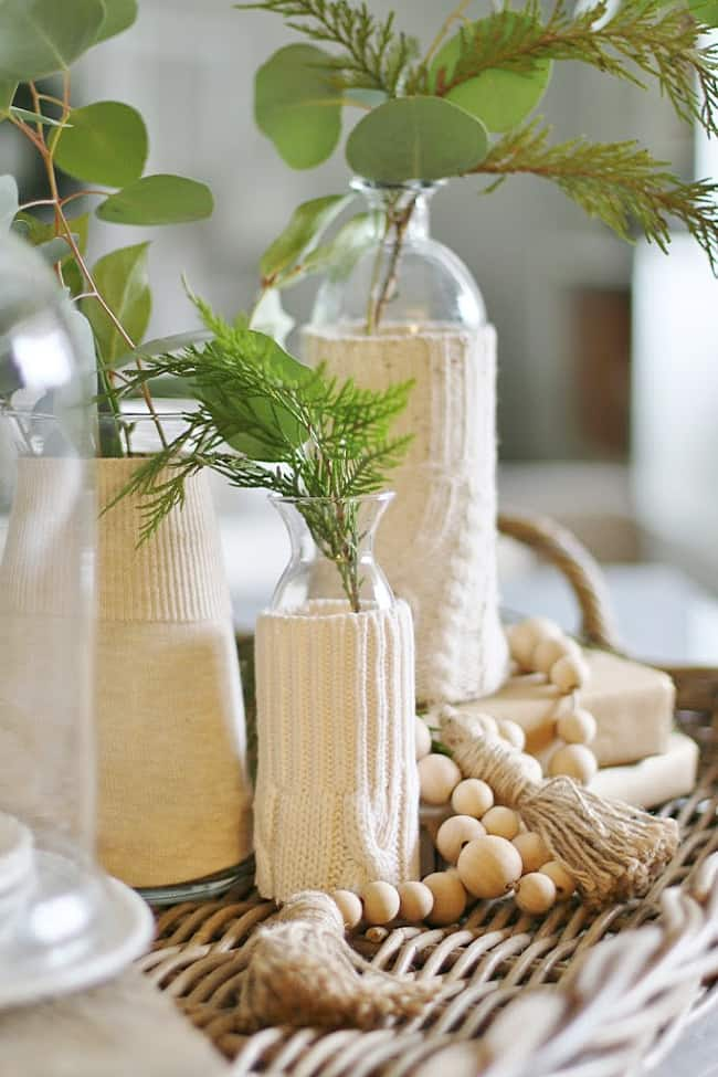 Christmas decorating ideas sweater vases
