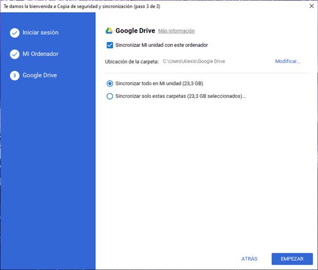 Sincronizar todo en Mi unidad de Google Drive