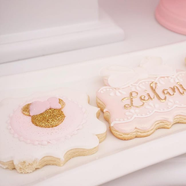 Pink and Gold Minnie Mouse First Birthday Party Cookies