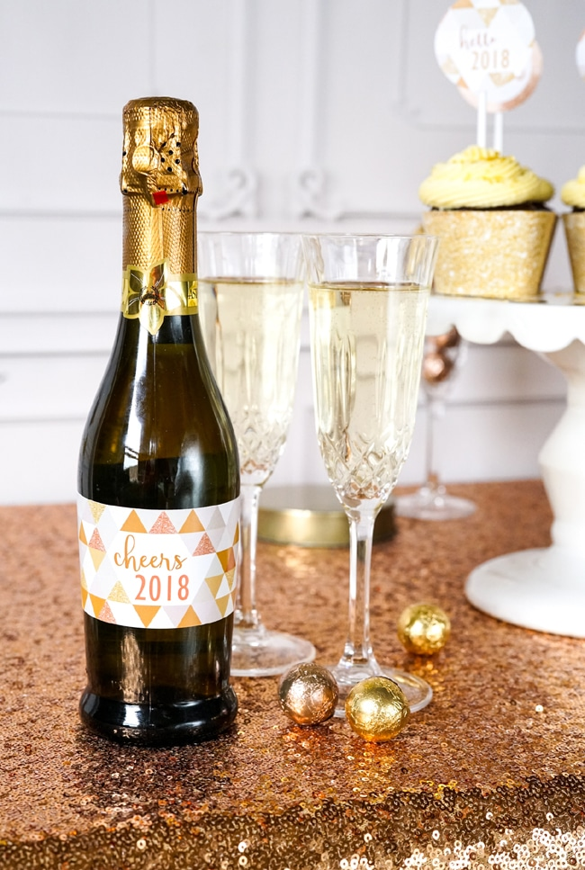 Quick and Easy New Years Party Setup champagne bottle labels featured on Pretty My Party