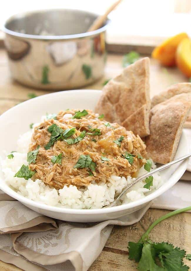 Slow cooker pulled chicken with peaches