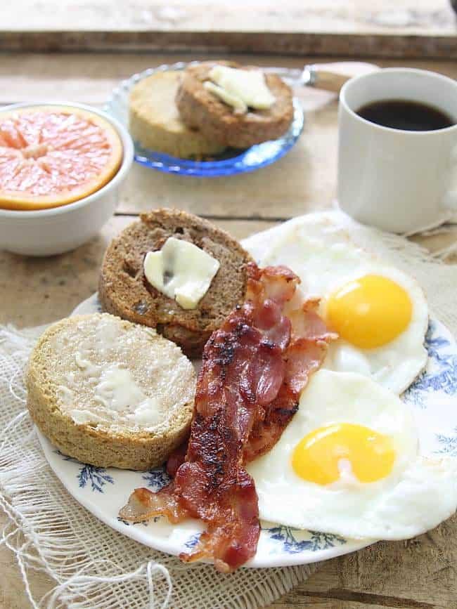 Microwave paleo english muffins - 2 ways: plain and cinnamon raisin.