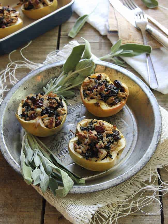 Turkey sage stuffed apples