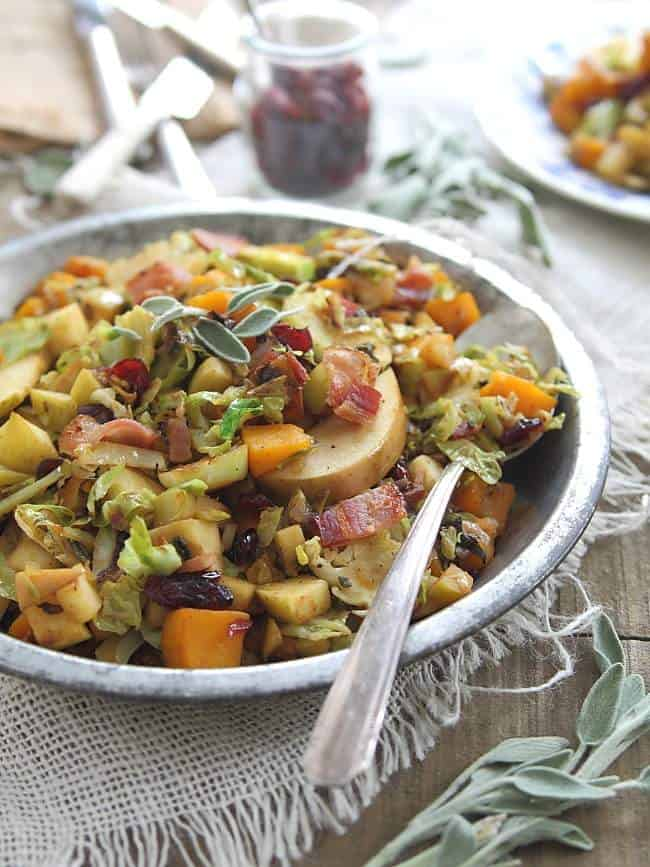 Brussels sprouts pumpkin and apple salad