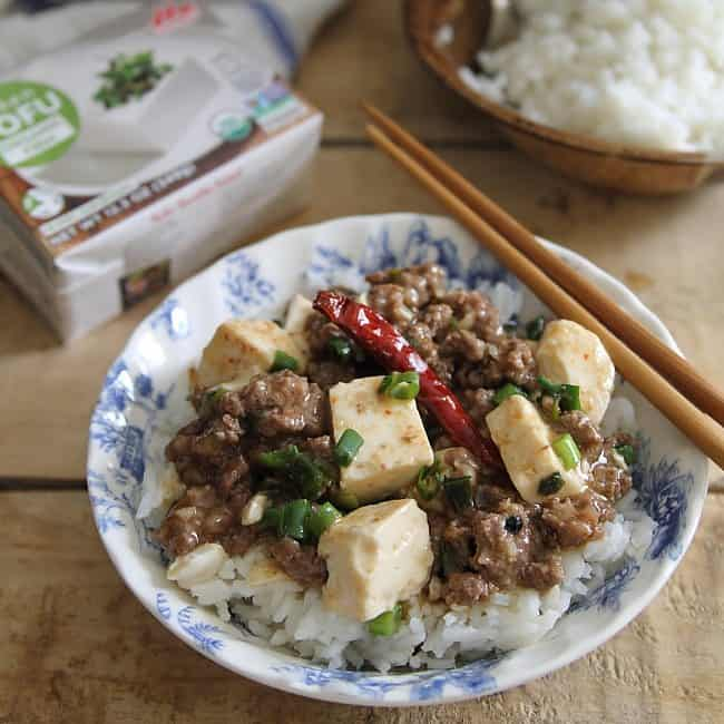 Spicy beef and mapo tofu