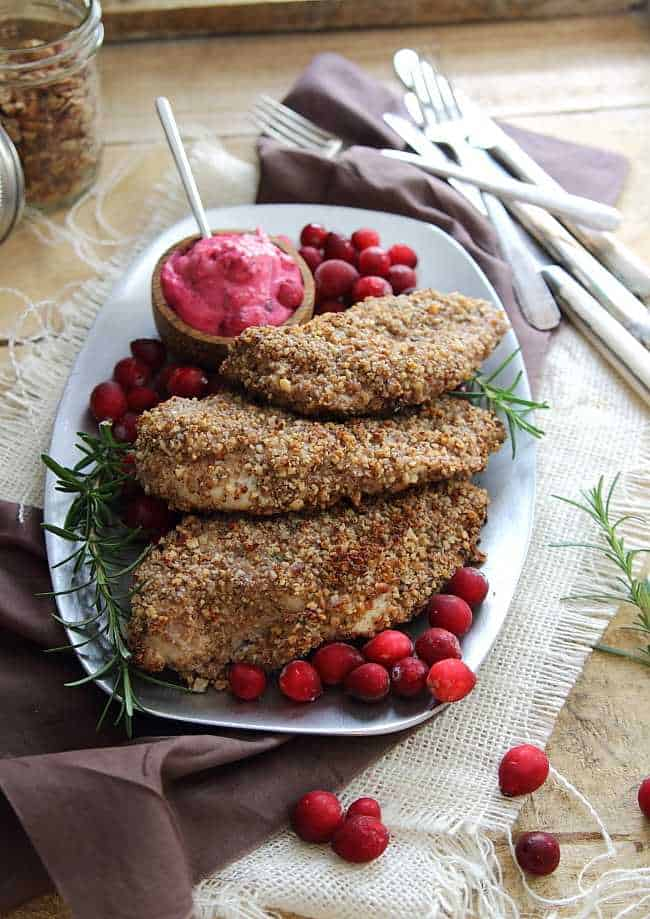 Pecan chicken with cranberry goat cheese sauce