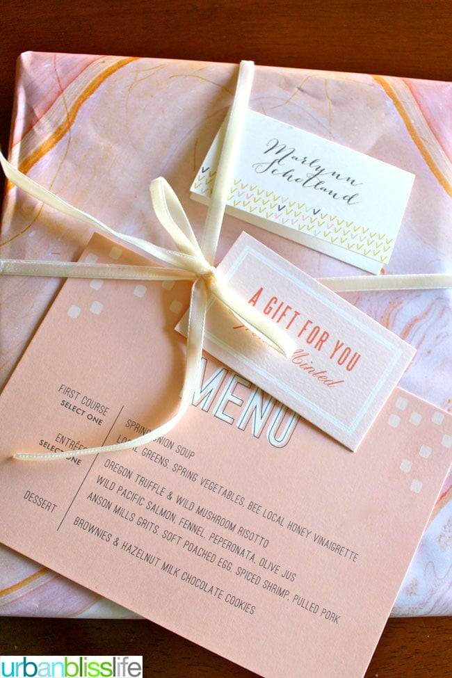 Minted Portland Blogger Luncheon - wrapper, menu, placecard