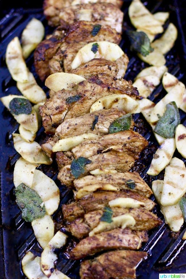 Grilled Hard Cider Pork Tenderloin with Apples and Sage recipe on UrbanBlissLife.com