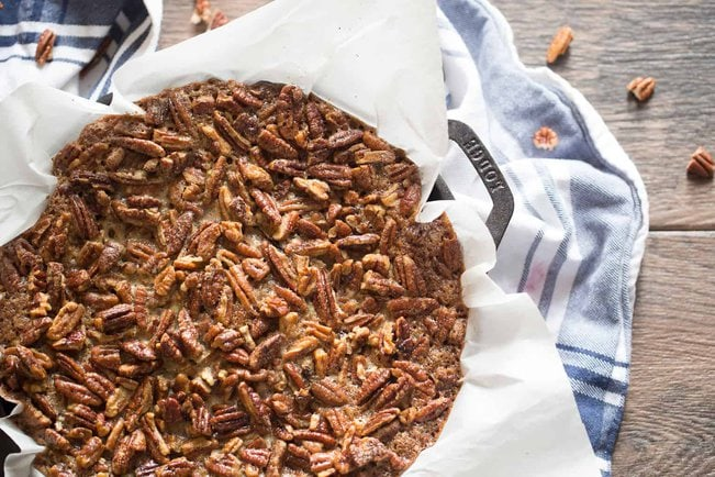 Bourbon Pecan Pie with Blondie from Above
