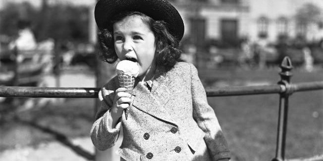 girl eating ice-cream with sensitive teeth