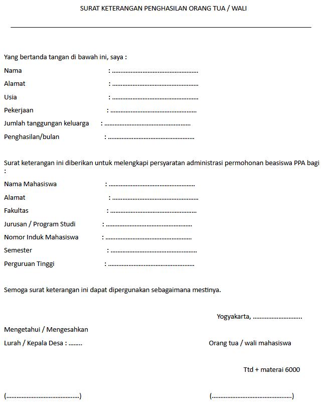 contoh surat keterangan penghasilan non pns