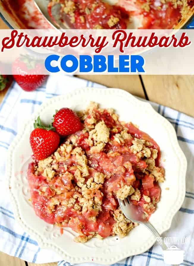 Easy Homemade Strawberry Rhubarb Cobbler recipe from The Country Cook