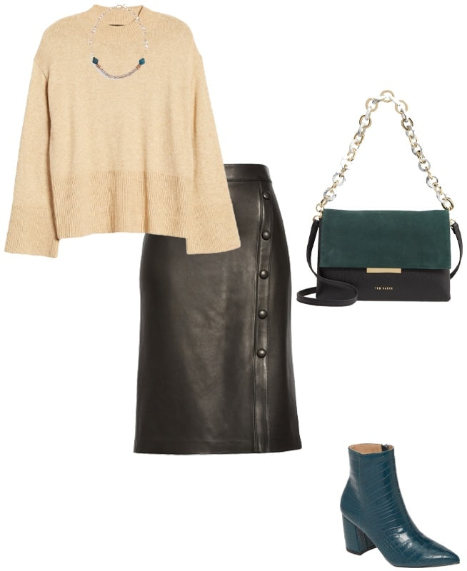 wear your leather skirt with a sweater | 40plusstyle.com