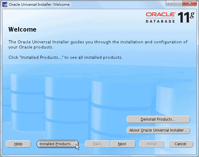 Oracle Home OUI Bin runInstaller - Welcome Page
