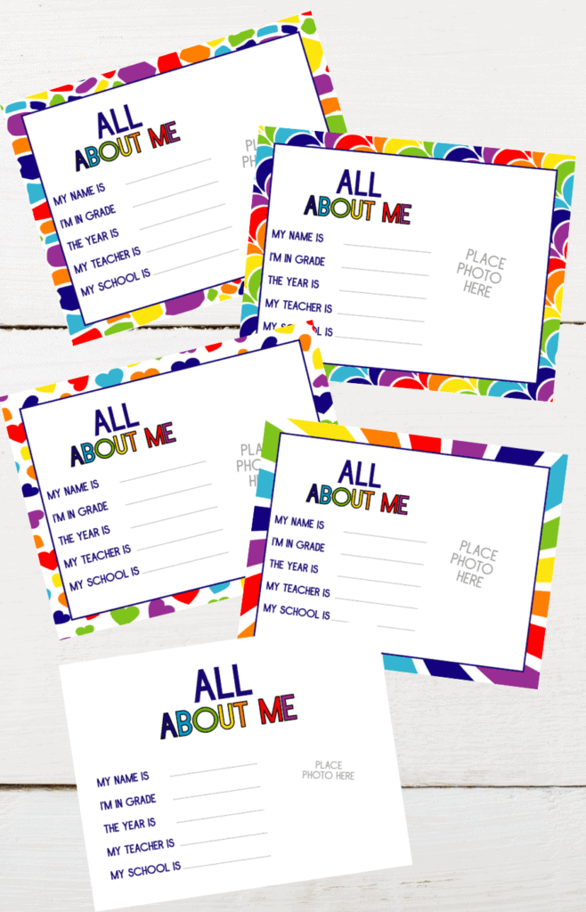 Memory Box All About Me Printables