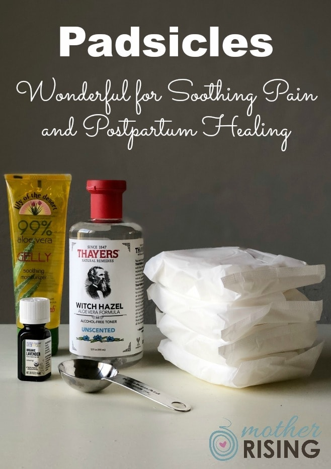 Padsicles are frozen postpartum pads soaked with healing ingredients that are used for pain relief and to promote healing after childbirth. DIY step by step instructions to make these healing pads in the third trimester. #postpartum #diy #pregnancy #thirdtrimester #essentialoils