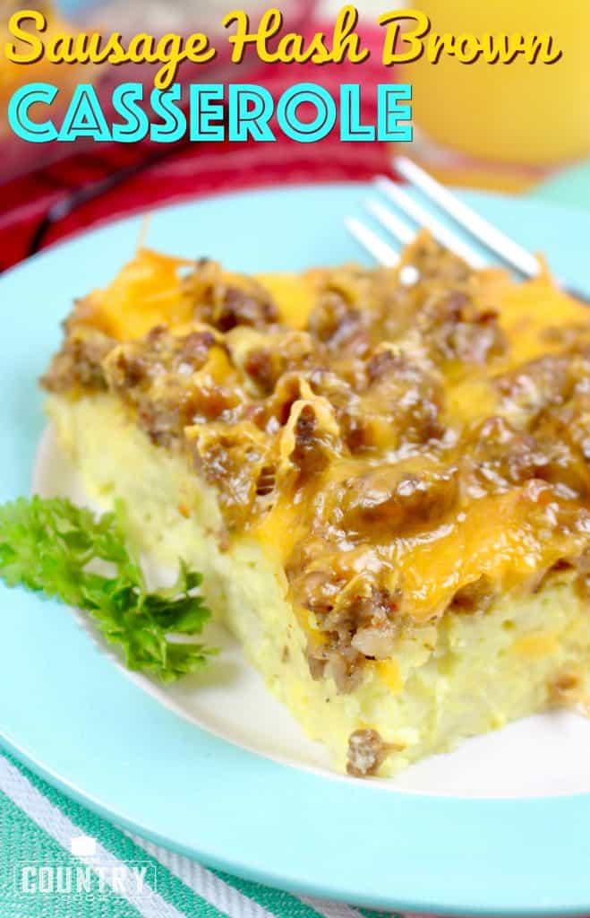 Sausage Hash Brown Breakfast Casserole recipe from The Country Cook