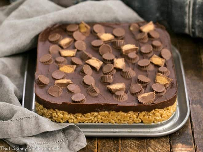 Reeses Rice Krispie Treats in the bottom of a square springform pan