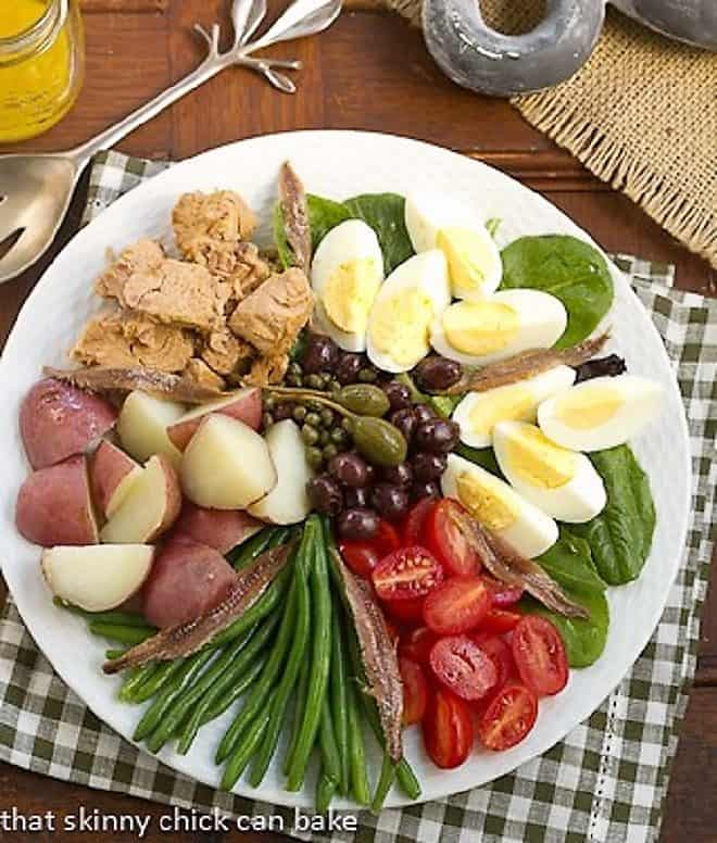 Classic French Salade Niçoise overhead shot on a white plate