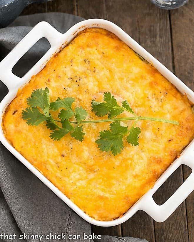 Chili Relleno Casserole in a square white baking dish