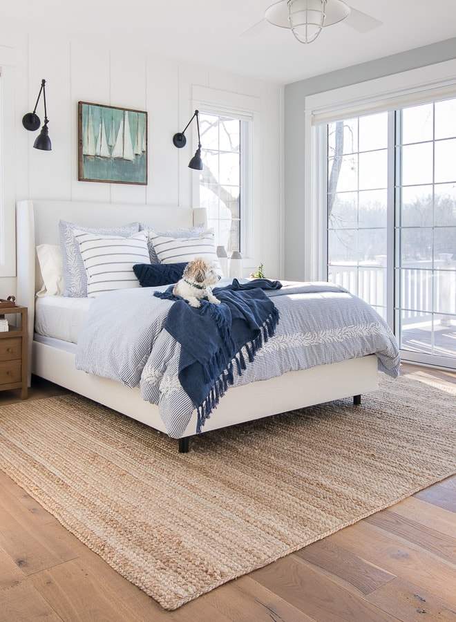 white and blue bedroom jute rug