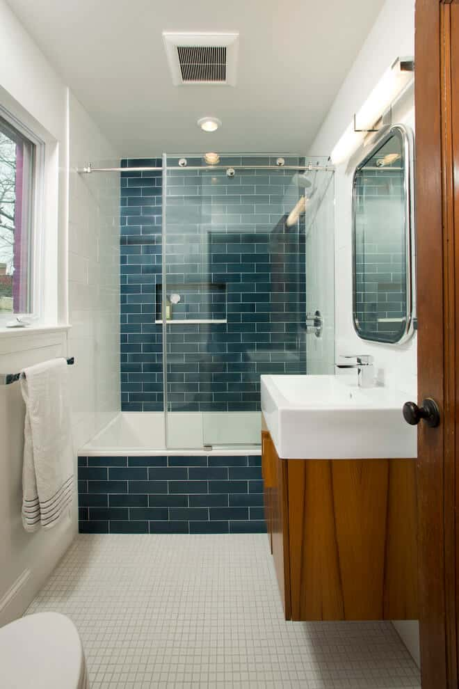 bathroom idea with Blue Subway Tile