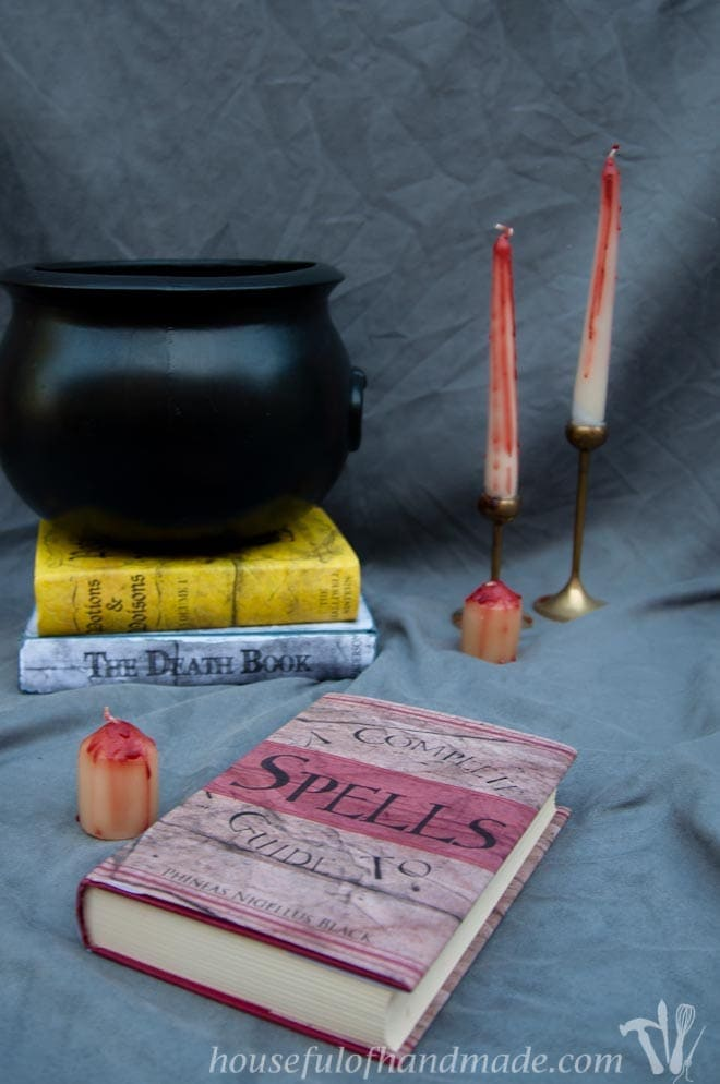 Transform your bookcase into a witch's study for Halloween with these free printable Halloween book covers. Housefulofhandmade.com