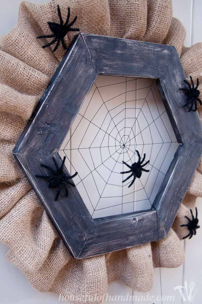 How to make a wooden spider web wreath
