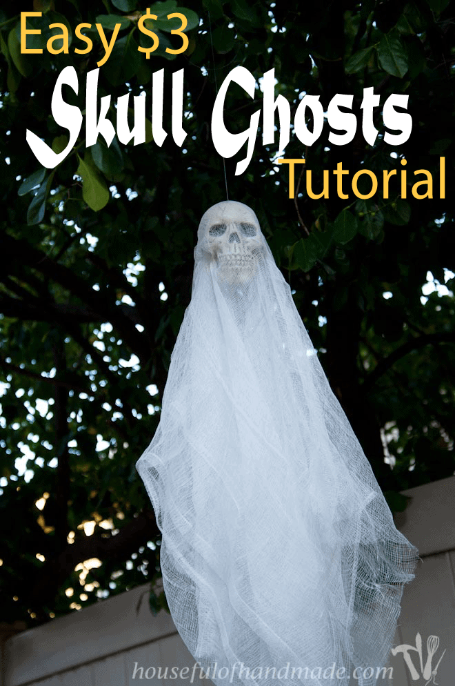 Make some super simpler, $3 skull ghosts to spooky up your house for Halloween. Tutorial on Houseful of Handmade.