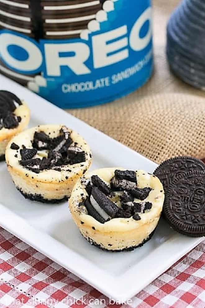 Mini Oreo Cheesecakes on a white tray