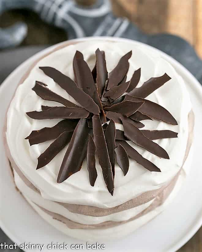 Overhead view of Layered Chocolate Meringue Cake
