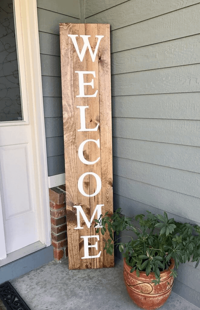 DIY RUSTIC WELCOME SIGN FOR SPRING AND SUMMER PORCH DECOR IDEAS