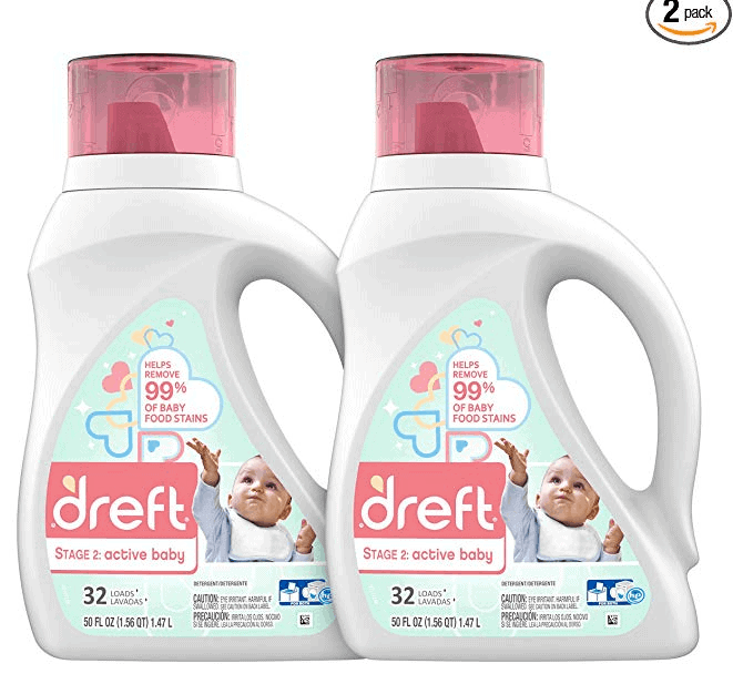 Dreft Stage 2: Active Hypoallergenic Liquid Baby Laundry Detergent for Baby, Newborn, or Infant