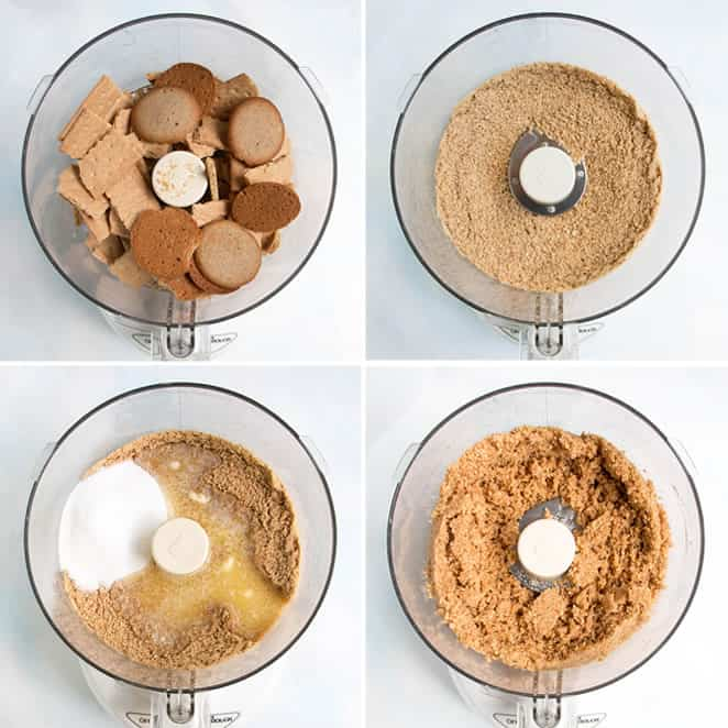 Making a graham cracker and vanilla wafer crust in the food processor