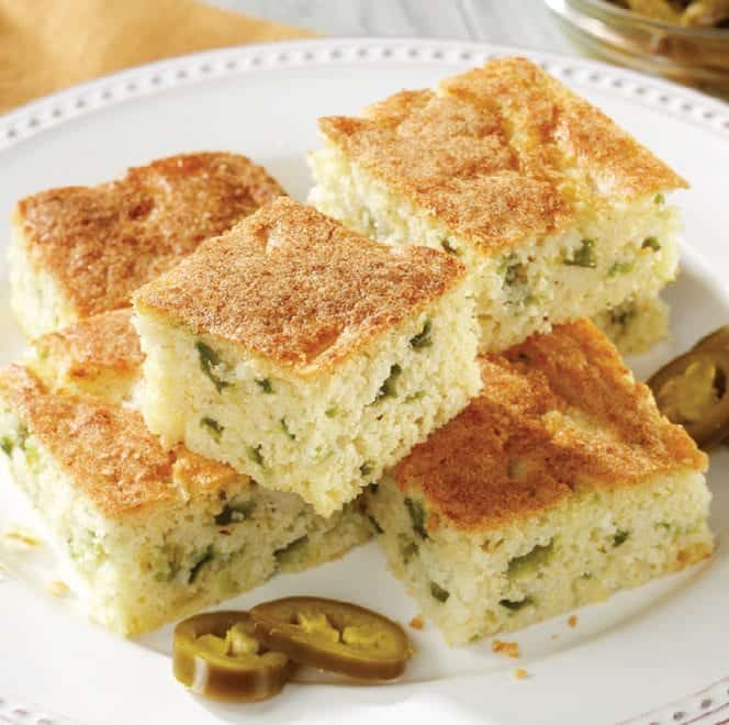 Jalapeno Cornbread piled on a white plate