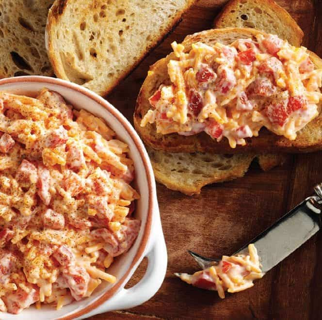 Roasted Pepper Cheese Spread on bread