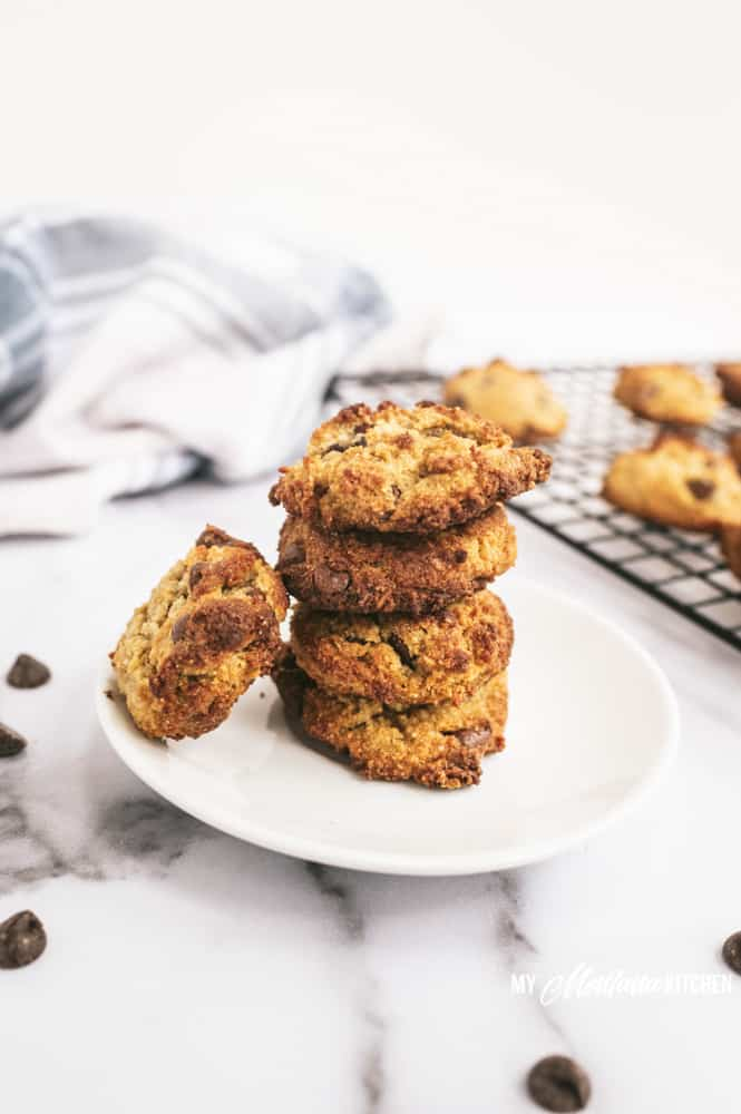stack of low carb chocolate chip cookies