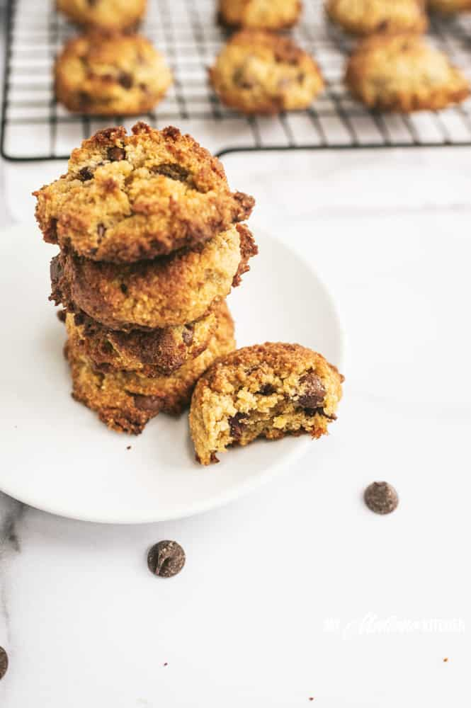 low carb chocolate chip cookie stack with a bite out