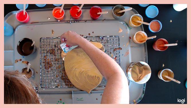 acorn acrylic pouring fall decor in progress