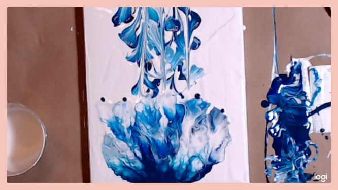 jellyfish painting tentacles in progress