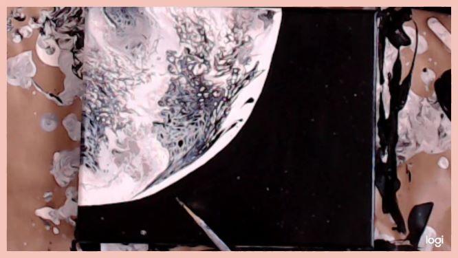 swipe moon painting in progress