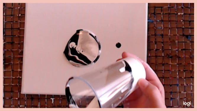 flip-cup moon painting in progress
