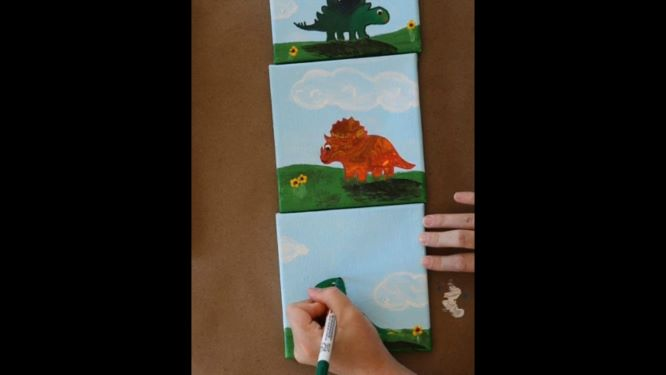 use paint pens to add a crisp outline to your dinos