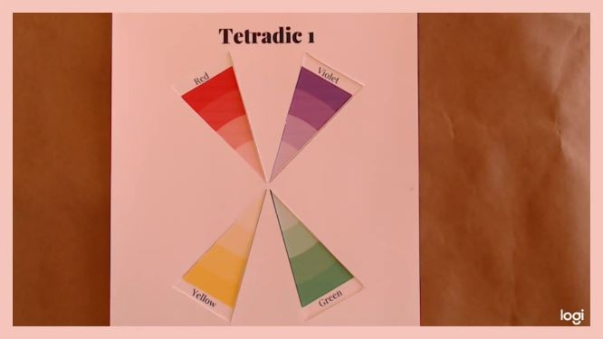 tetradic color scheme violet, red, yellow, green